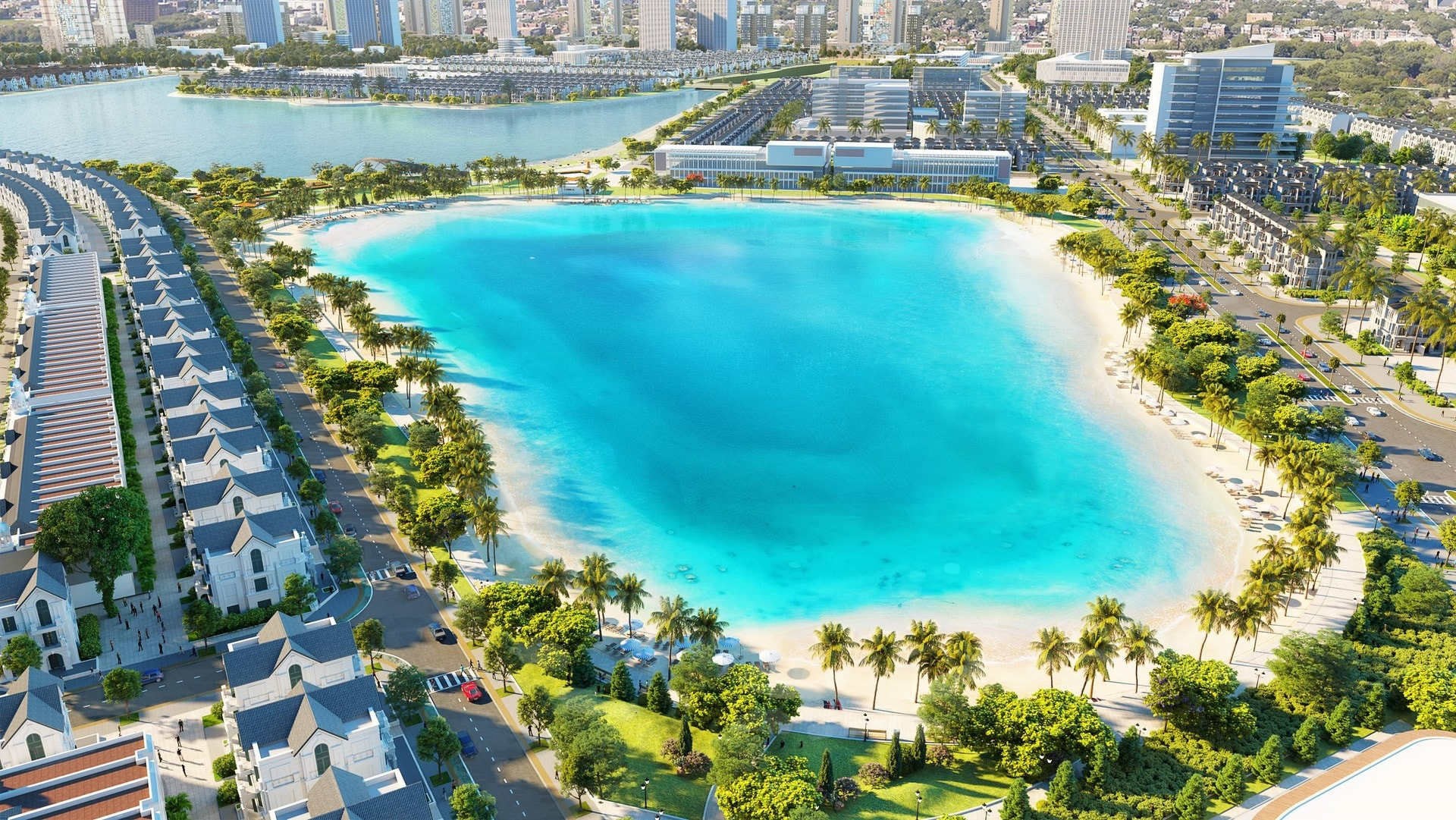 Biển hồ nước mặn nhân tạo diện tích 6.1ha nằm liền kề hồ nước ngọt 24.5ha.