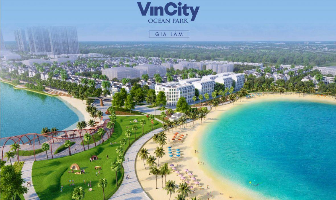 Góc nhìn toàn cảnh Biển hồ nước mặn và Hồ nước ngọt trải cát trắng nhân tạo của dự án Đại đô thị Vinhomes Ocean Park.