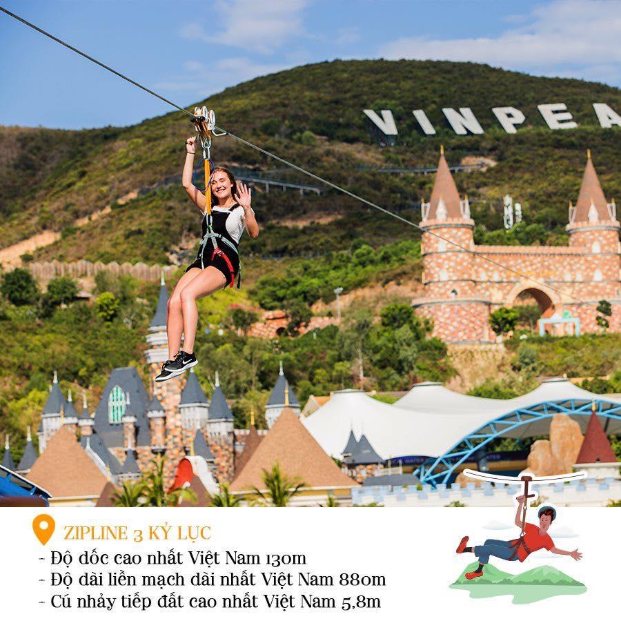 Một trong những đường trượt Zipline nổi tiếng nhất tại Việt Nam phải kể đến đường trượt tại Vinpearl Nha Trang hiệnsở hữu 3 kỷ lục Việt Nam