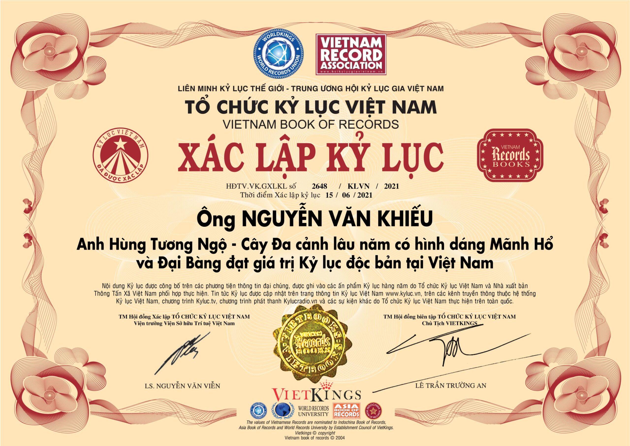 Cây Đa cảnh lâu năm có hình dáng Mãnh Hổ và Đại Bàng của ông Nguyễn Văn Khiếu chính thức xác lập Kỷ lục độc bản Việt Nam kể từ ngày 15/06/2021.