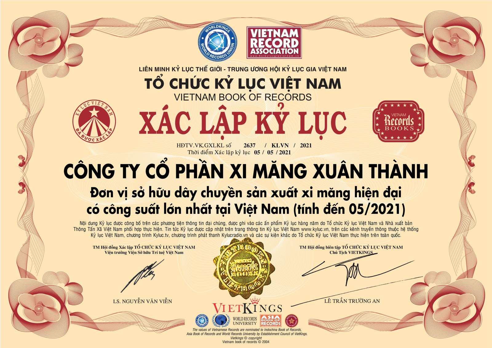Công ty CPXi măng Xuân Thành đã chính thức xác lập kỷ lục là đơn vị sở hữu dây chuyền sản xuất xi măng hiện đại có công suất lớn nhất tại Việt Nam kể từ ngày 5 tháng 5 năm 2021.