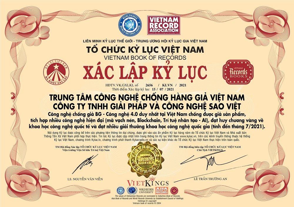 Công nghệ chống giả BG chính thức xác lập Kỷ lục Việt Nam kể từ ngày 15/07/2021.